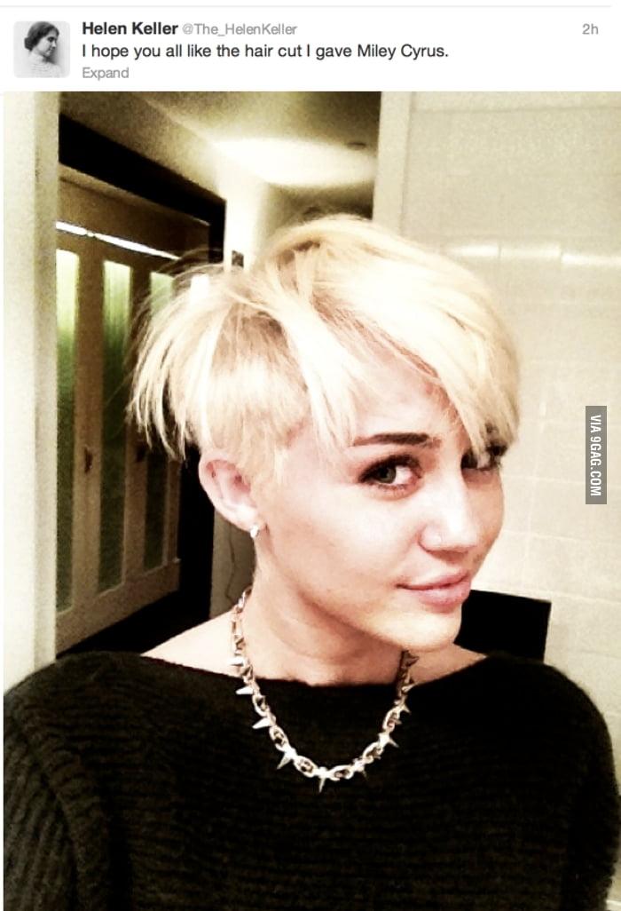 Helen Keller on Miley's new hair