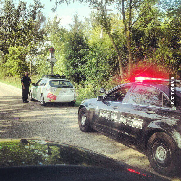 Google Maps car got pulled over...