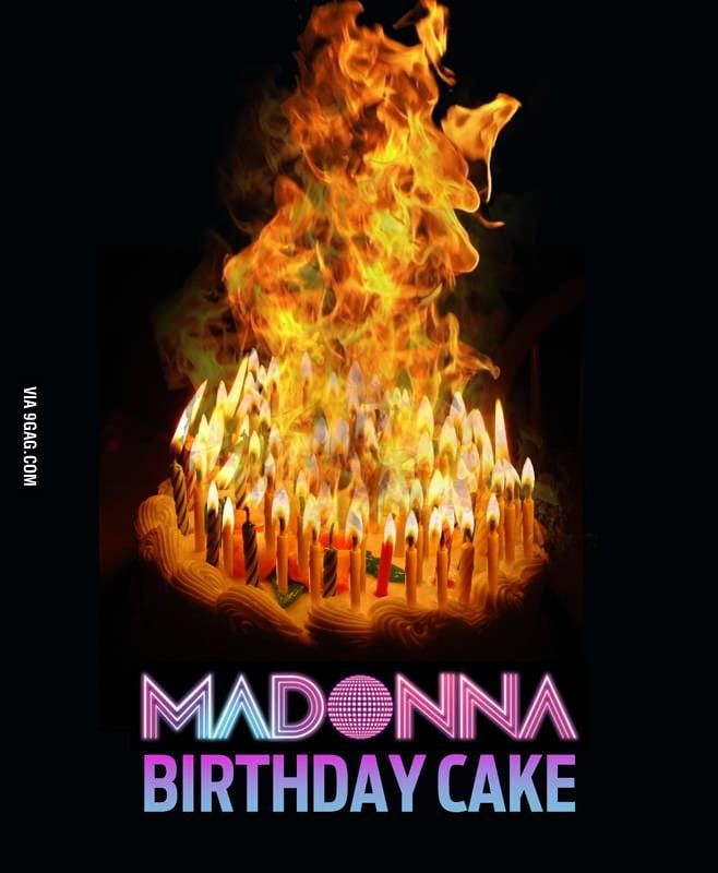Madonna, Cake, Birthday, Music, Flames, Fire