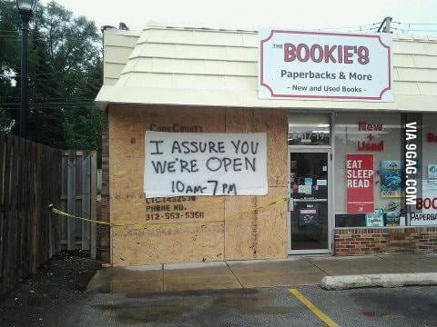 So a bookstore near the place I live was hit by a car...
