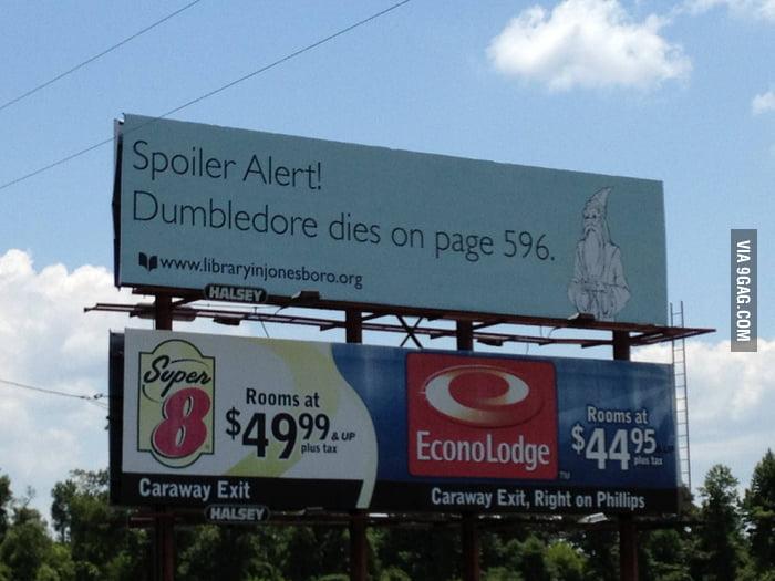 """Harry Potter """"Spoiler Alert"""" troll billboard"""