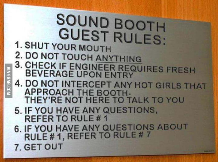 Sound Booth Guest Rules