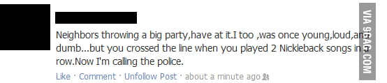 Aunt's Facebook status about neighbourhood party.