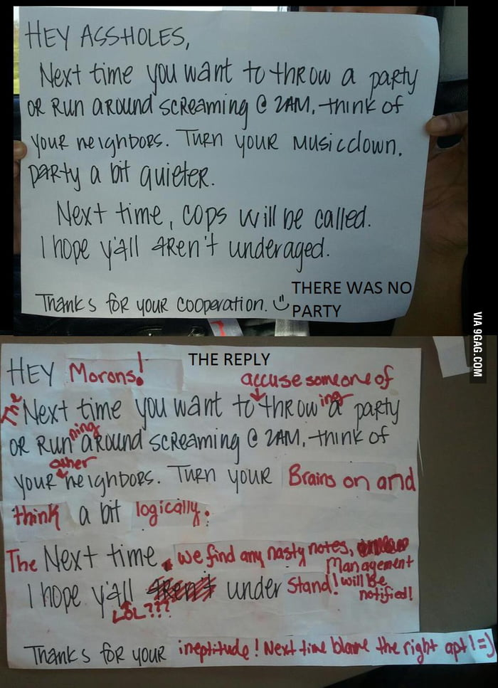 Pissed off country sorority girls leave a note on our door..