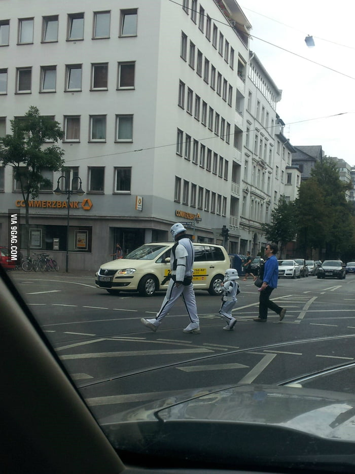 Taking a walk with his son...LIKE A BOSS