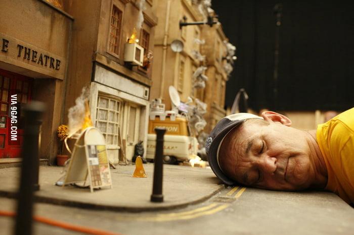 Bill Murray on the set of Fantastic Mr. Fox
