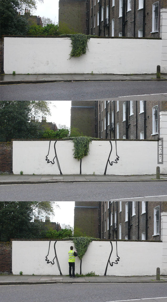 You see some plants, Banksy sees some art.