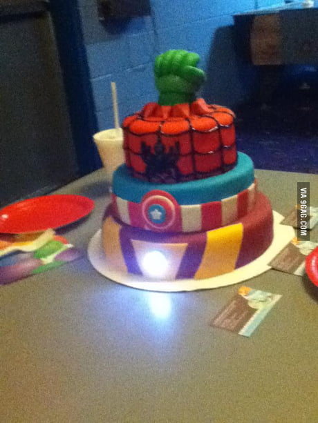 Outstanding Homemade Avengers Birthday Cake 9Gag Funny Birthday Cards Online Alyptdamsfinfo
