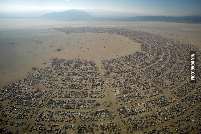 Aerial view of the Burning Man festival