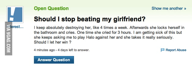 Should I stop beating my girlfriend?