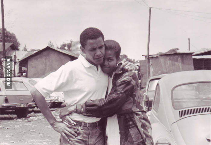 Young Barack and Michelle Obama