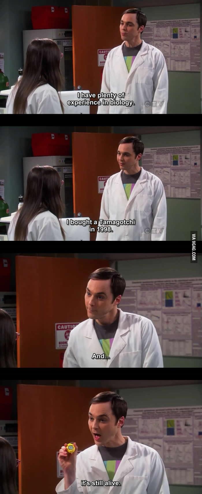 Sheldon has plenty of experience in biology.