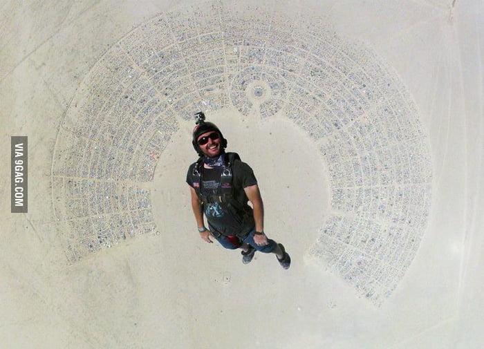Skydiving into Burning Man.