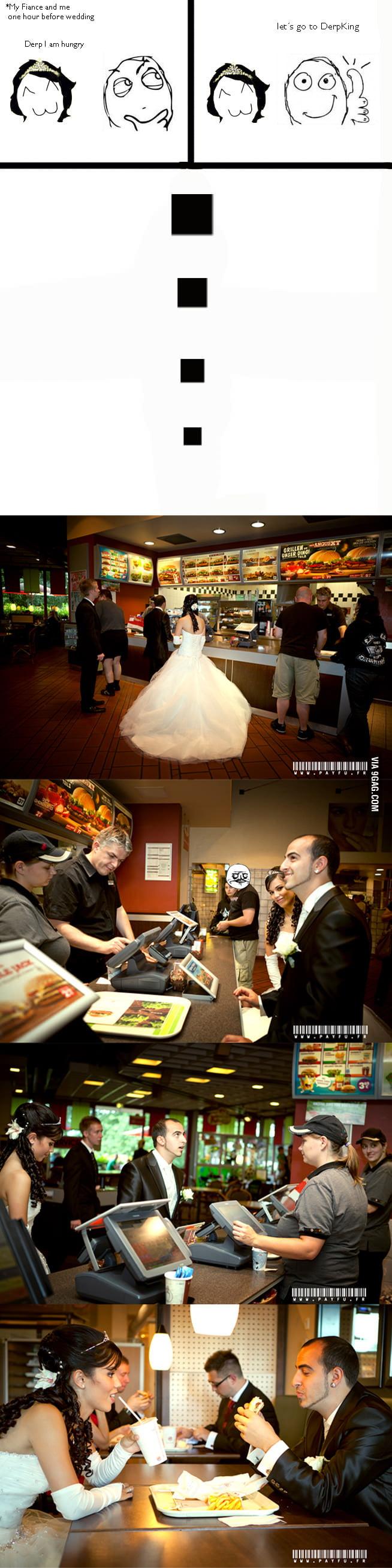 Burger King at wedding day