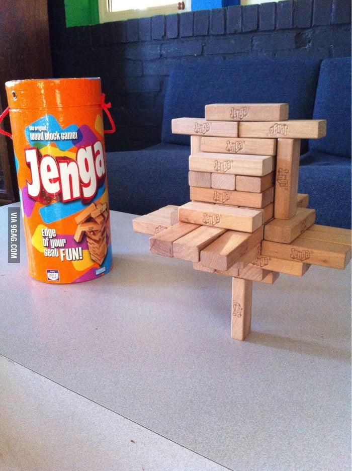 Playing Jenga like a boss.