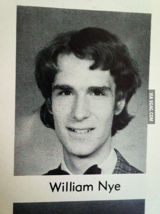 Bill Nye the Science Guy's yearbook photo.