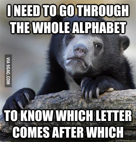 Admit it you need to do this when counting alphabet.