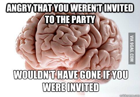 Scumbag brain on party invite.