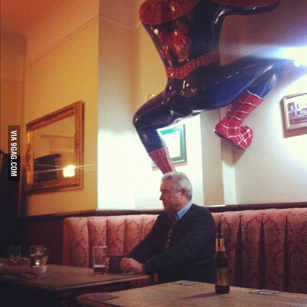 Man, I don't think it's good to sit below Spiderman's butt.