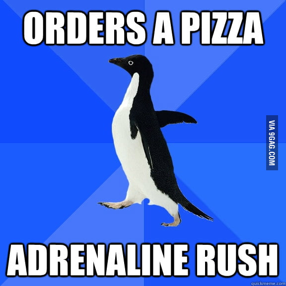Social Awkward Penguin ordering a pizza.