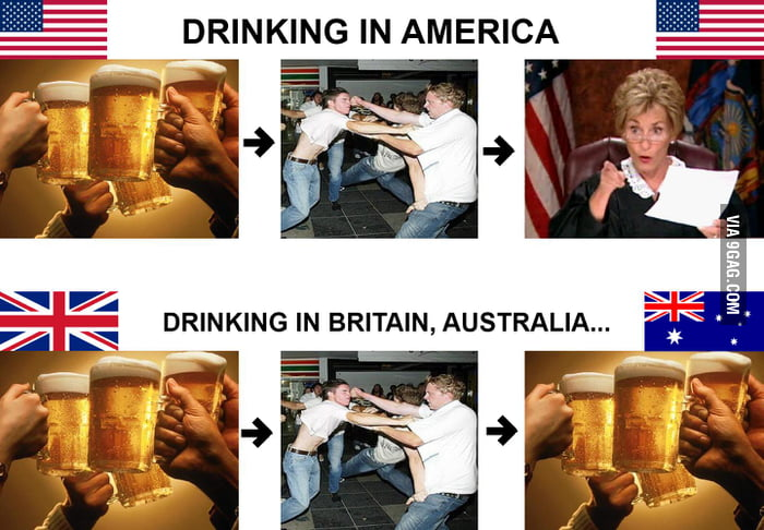 Difference in drinking in America, Britain, Australia