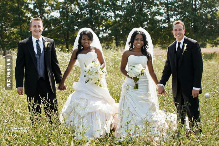Twin brothers marry twin sisters.
