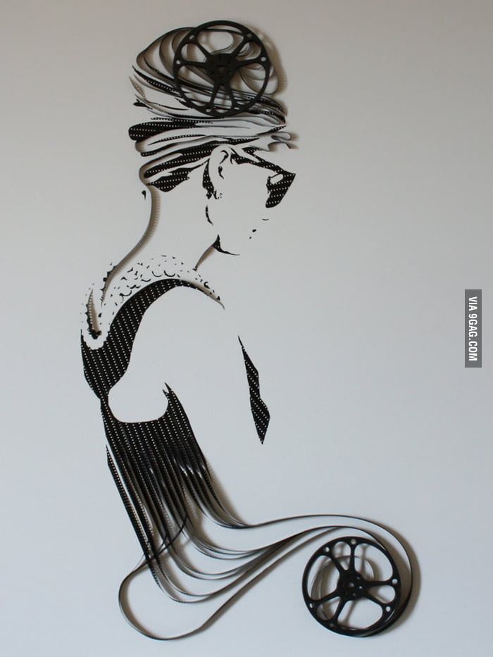 Gorgeous Audrey Hepburn made from tape.