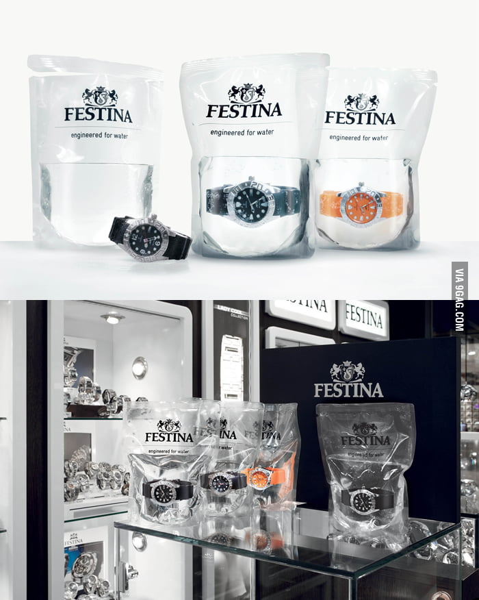 Swiss water-proof watch is sold in a bag of water.
