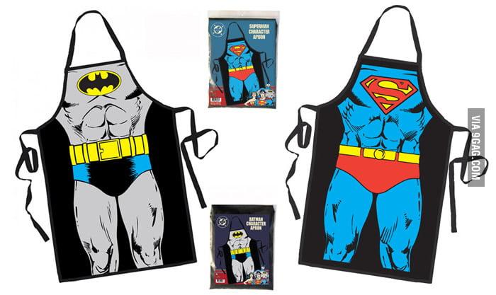 Batman and Superman Aprons