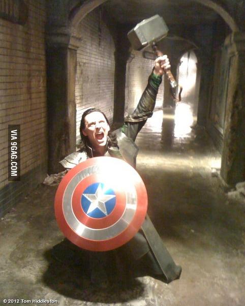Loki having fun on the set of the Avengers.