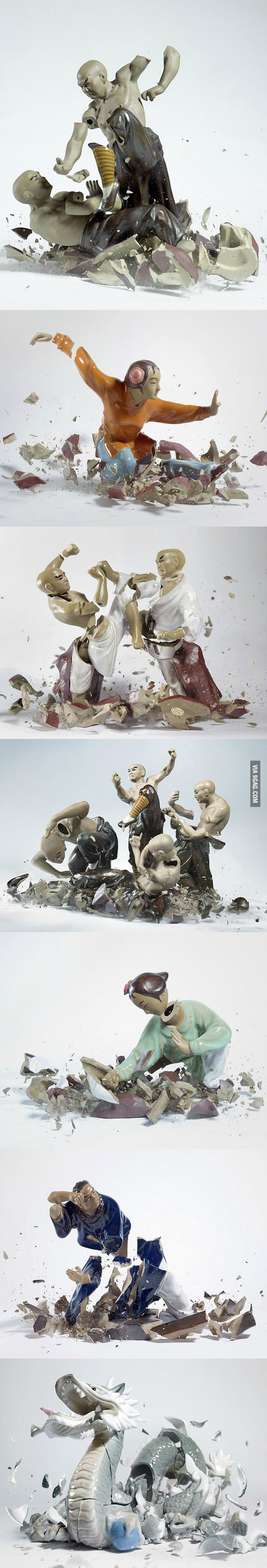 Shattering Porcelain Fighting Figures