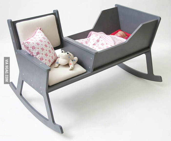 A rocking chair and cradle in one