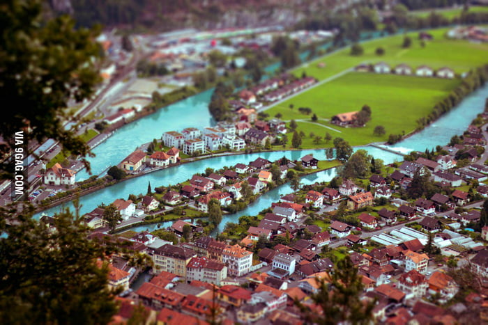 A tilt-shift photo of Interlaken, Switzerland.