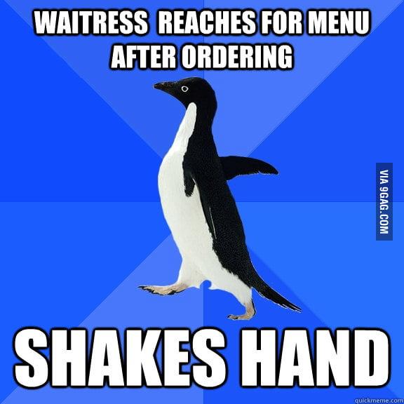 Socially Awkward Penguin in a restaurant