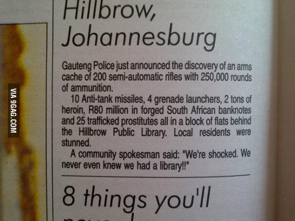 Johannesburg people are shocked.
