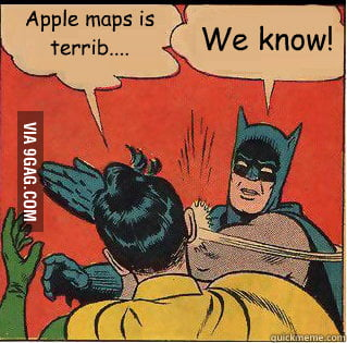 Batman and Robin on Apple Maps
