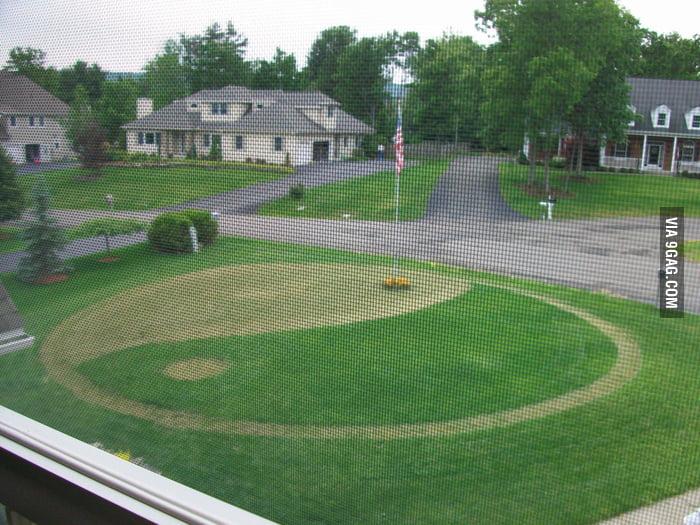 Mowing lawn like a yin yang.
