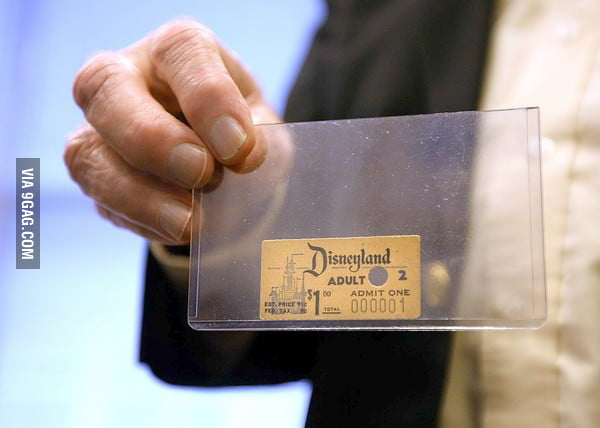 First Disneyland admission ticket ever sold.