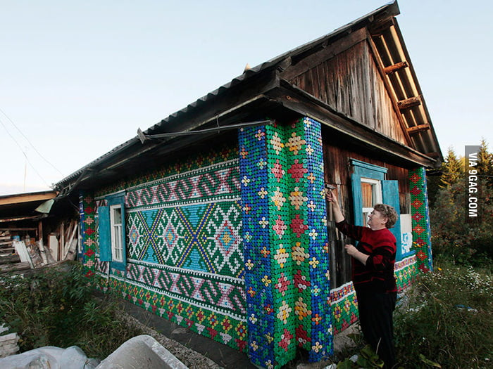 Russian woman covers her house in 30,000 bottle caps.