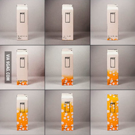 Milk carton changes color when it gets closer to expiry.