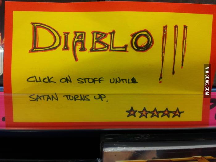 Description of Diablo 3 at a local game store.