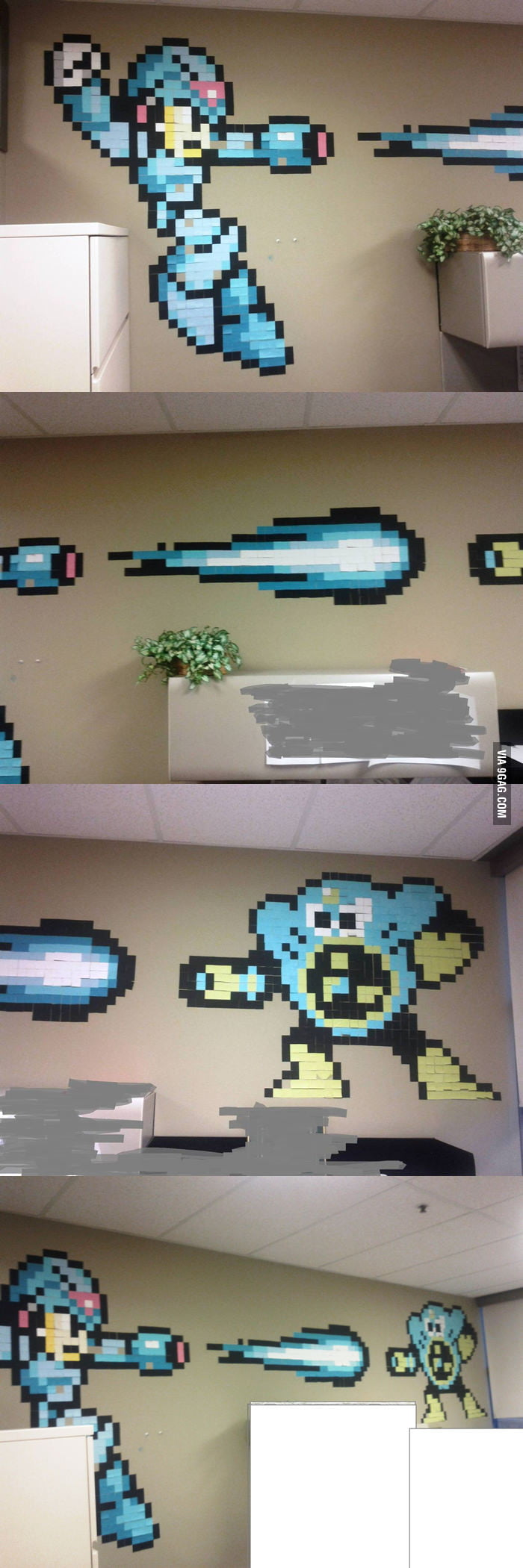 Mega Man made of Post-it notes