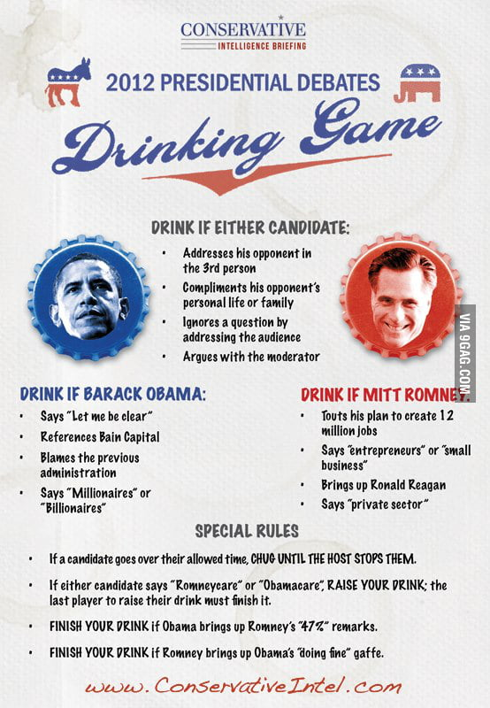 2012 Presidential Debates Drinking Game