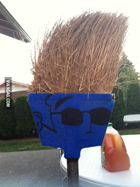 This broom looks like Johnny Bravo