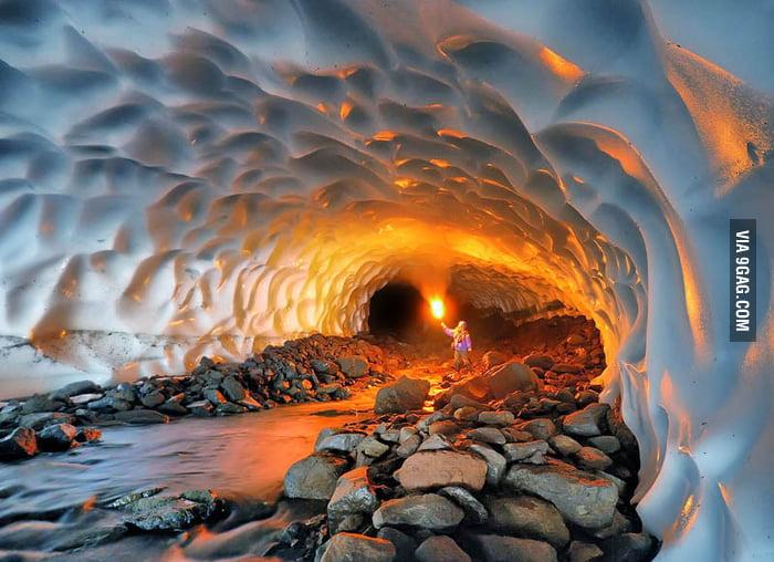 Best Photos of 2012: Illuminated Snow Tunnel in Russia