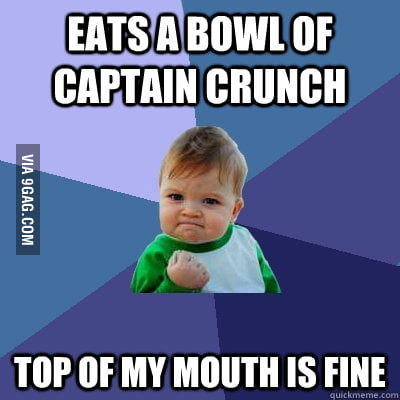 Success Kid eating Captain Crunch