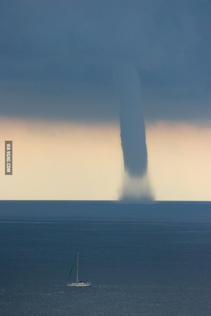 Tornado eating the sea