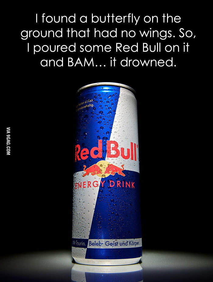 Butterfly and Red Bull
