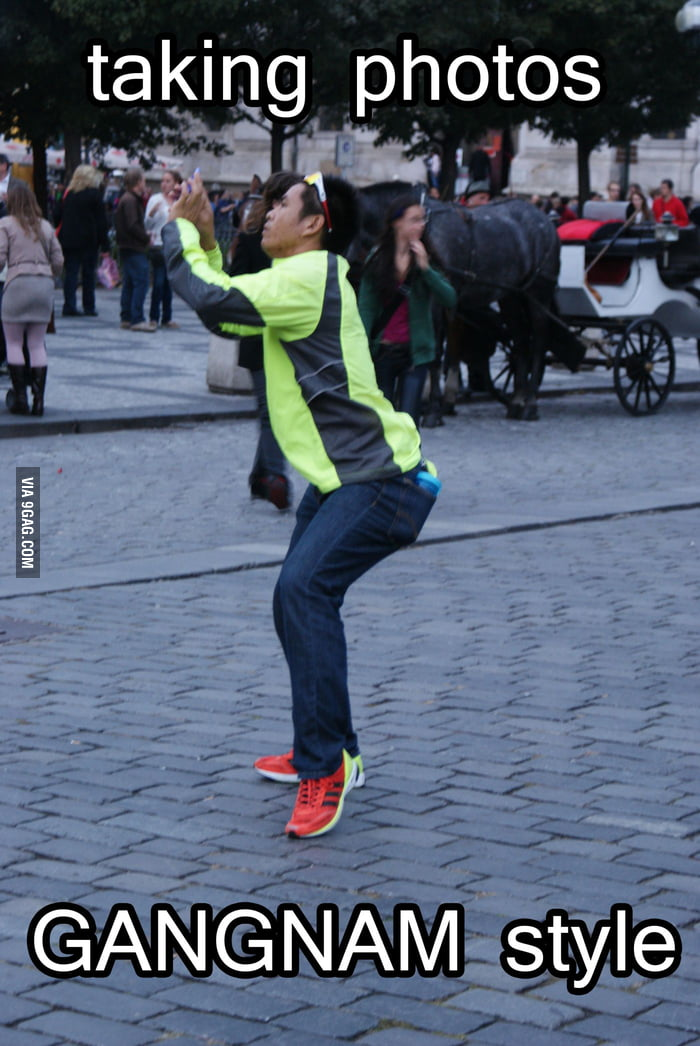 Meanwhile in Prague, asians taking photos in gangnam style