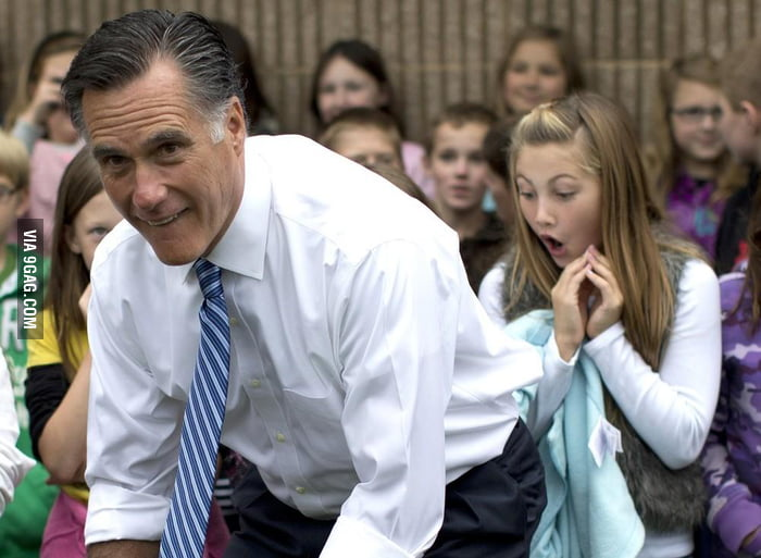 Why was the young girl so surprised at Romney's butt?